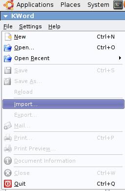KWord - file menu